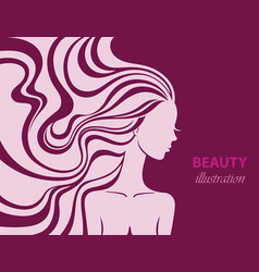 fashion line art silhouette of a beautiful young vector image
