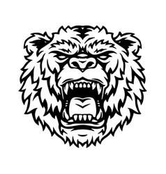 Ferocious powerful grizzly head tattoo vector