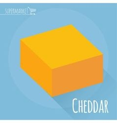 Flat design Cheddar cheese icon vector