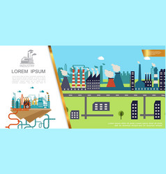 Flat industrial factory colorful concept vector