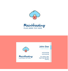 flat locked cloud logo and visiting card template vector image
