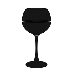 Glass of red wine icon in black style isolated on vector image