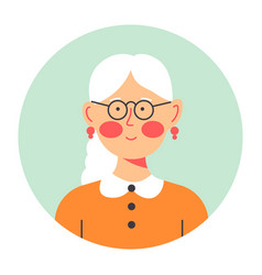 grandmother portrait in circle senior lady vector image