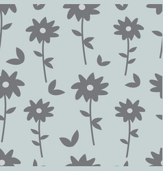 Gray and blue floral seamless pattern vector