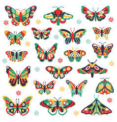 hand drawn butterflies doodle colorful flying vector image