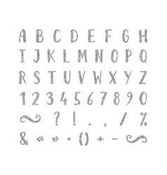 Handwritten font with punctuation marks vector