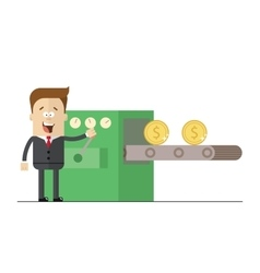 Happy businessman prints wads of money on the vector