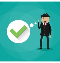 Happy cartoon businessman with green tick vector image