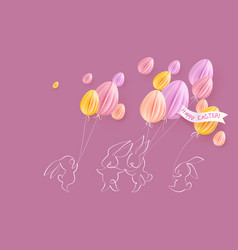 happy easter card cute rabbit with air balloons vector image