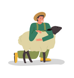 happy farm man hugging cute sheep isolated vector image