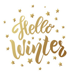hello winter lettering phrase in golden style vector image