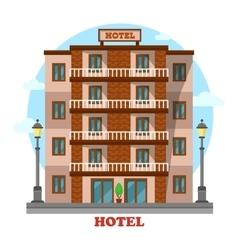 Hotel or motelskyscraper hostel building exterior vector