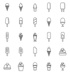 Ice cream line icons on white background vector image