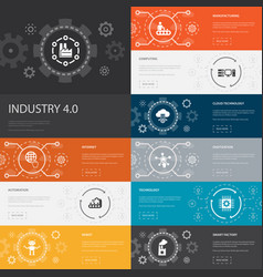 Industry 40 infographic 10 line icons banners vector