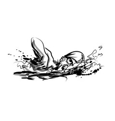 ink sketch swimmer vector image