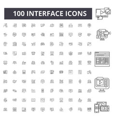interface line icons signs set outline vector image