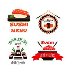 Japanese restaurant sushi menu icons set vector