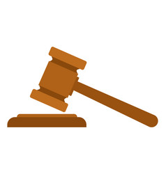 Judge or auction gavel icon in flat style vector