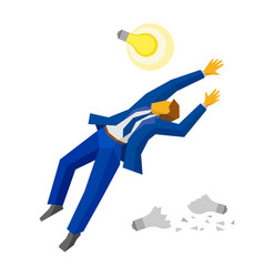 Jumping businessman catch lamp business concept vector