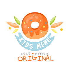 Kids menu logo original healthy organic food vector
