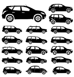 Large collection silhouettes cars element fo vector