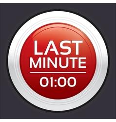 Last minute sale button round sticker vector