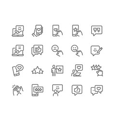 line feedback icons vector image