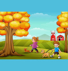 little girl and boy walking with his dogs in farm vector image