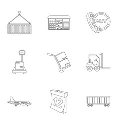 Logistic set icons in outline style big vector