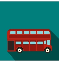 London double decker red bus icon flat style vector image