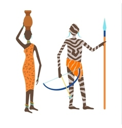Maasai couple african people vector image