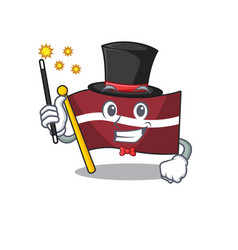 Magician cartoon flag latvia in with mascot vector