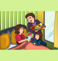 Mothers day breakfast in bed vector