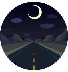 night straight road forward in the mountains vector image