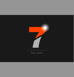 Number 7 in grey orange color for logo icon design vector