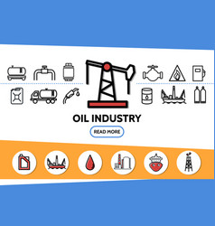 oil industry line icons set vector image
