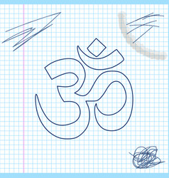 om or aum indian sacred sound line sketch icon vector image