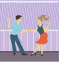 people dancing hobman and woman vector image