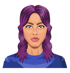 pretty girl with purple hair on white background vector image
