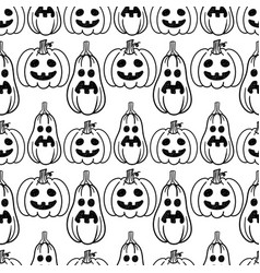 Pumpkin sketch hand drawn seamless pattern vector