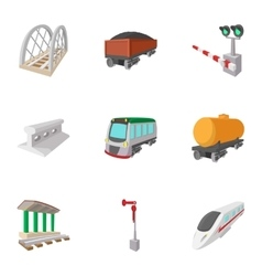 Railway icons set cartoon style vector image