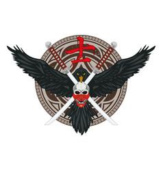Raven sword skull color vector