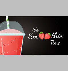 Red smoothie logo strawberry fruit shake cocktail vector
