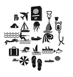 Rest on the water icons set simple style vector