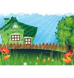 Rural house in meadow vector