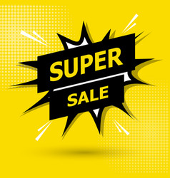 Sale banner template design on yellow background vector