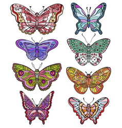 set colorful various forms butterflies vector image