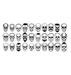 set different skull characters monochrome vector image