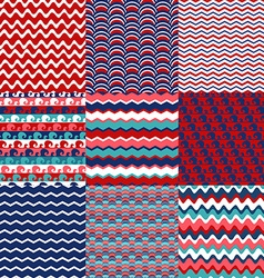 Set of blue red and white sea wave seamless vector image