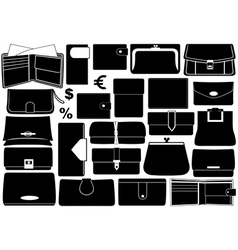 Set of different wallets vector image